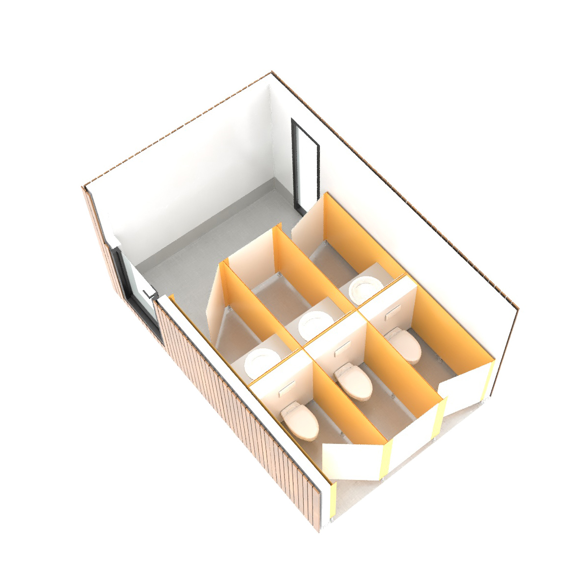 SANIBIO® FERMÉ MIXTE CONFORT + 3X bloc sanitaire, sanitaire modulaire