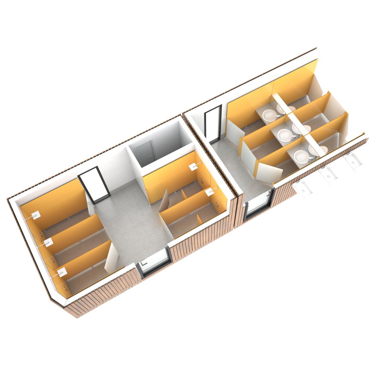SANIBIO® FERMÉ MIXTE SUR MESURE bloc sanitaire, sanitaire modulaire