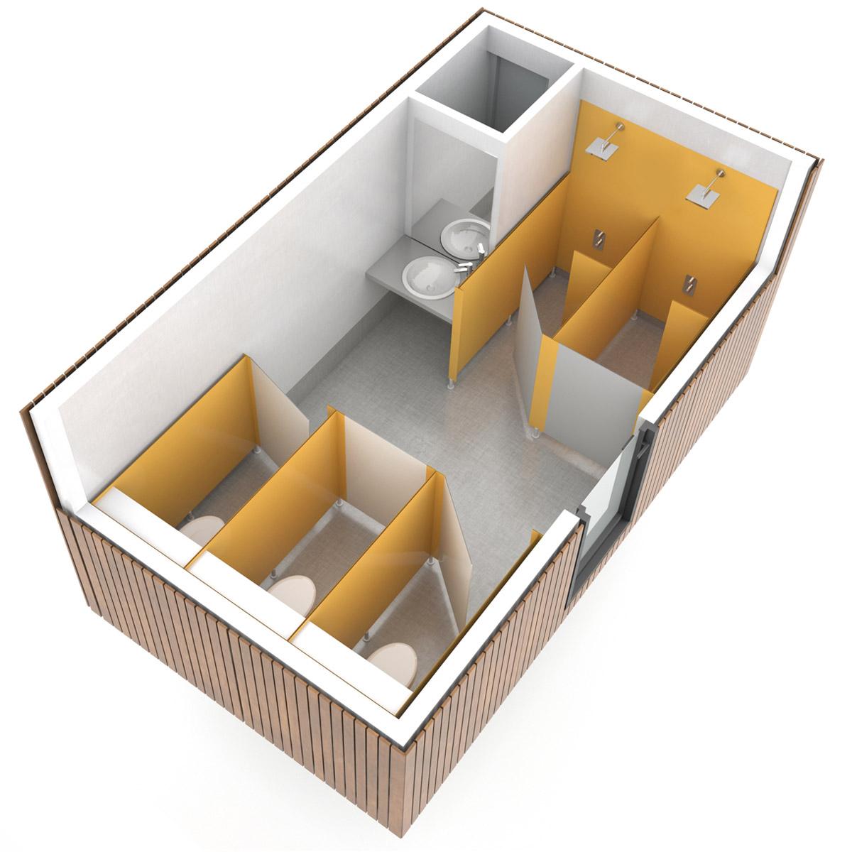 SANIBIO® FERMÉ MIXTE 3X bloc sanitaire, sanitaire modulaire