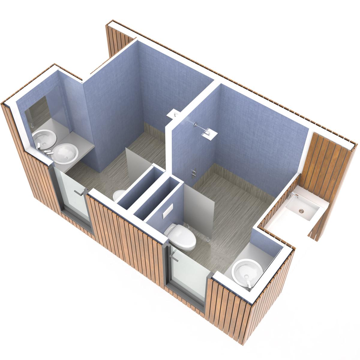 SANIBIO® INDIVIDUEL X1 bloc sanitaire, sanitaire modulaire