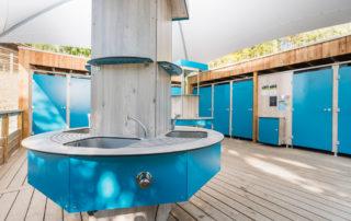 SANIBIO® Bloc sanitaire modulaire, aménagement extérieur pour sanitaire pour camping